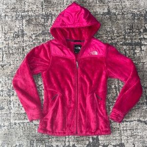 """WOMENS """"THE NORTH FAVE"""" HOT PINK LIGHT FURRY ZIP UP JACKET SIZE XS/TP"""